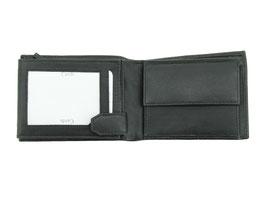 Leder Portemonnaie mit Noten-Reisverschlussfach - Nr.2001 Schwarz