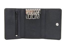Schlüsseletui mit 6 Mini Karabiner - Schwarz