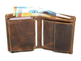 """""""LD"""" Portemonnaie mit Cardprotector und Münzfach - Braun"""