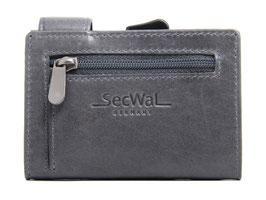SecWal Kreditkartenetui Vintage Blau - Reisverschluss-Münzfach