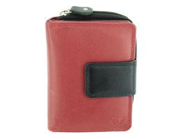 Damenportemonnaie mit Reißverschluss-Münzfach Nr.3542 - Rot-Schwarz