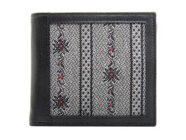 Portemonnaie mit Edelweiss Stoff - Querformat Schwarz