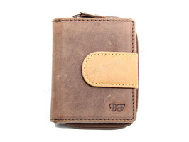 Kleines Rv-Portemonnaie Nr.1502 RFID - Antikbraun-Tan
