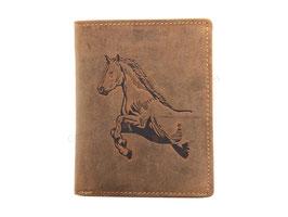 Greenburry Portemonnaie mit Pferd Prägung- Antikbraun