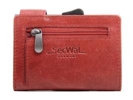 SecWal Kreditkartenetui Vintage Rot - Reisverschluss-Münzfach
