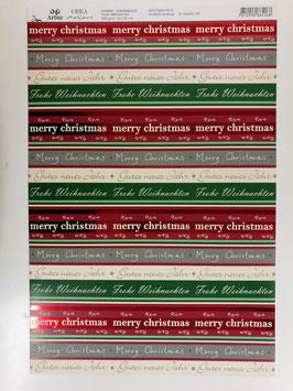 Papier Frohe Weihnachten/rote streifen