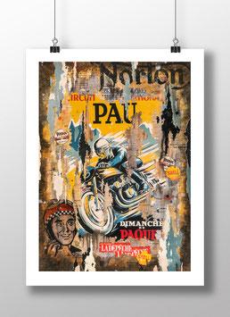 """Tirage d'art """"Grand Prix de moto de Pau 1951"""""""