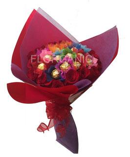 RAMO ROSAS FERRERO (10 rosas + 16 ferrero)