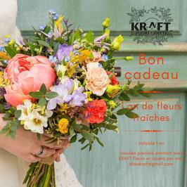 Bon d'achat pour un abonnement de 1 an de fleurs. Bordeaux et la métropole uniquement.