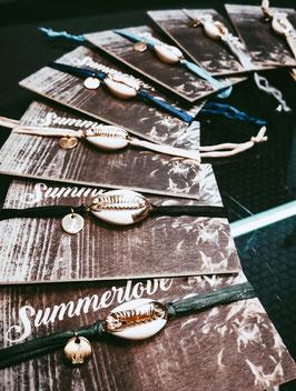 Seiden Armband Kauri Muschel Gold