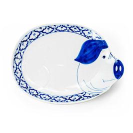 Thai Porzellanteller mit blau weißem Muster (Schwein)
