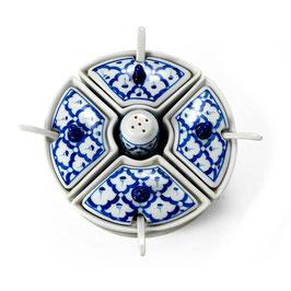 Thai Menage 6-teilig aus Porzellan mit blau weißem Muster