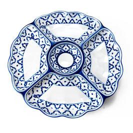Thai Rundteller 5-geteilt aus Porzellan mit blau weißem Muster