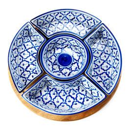 Thai Rundteller 6-teilig aus Porzellan mit blau weißem Muster