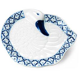 Thai Porzellanteller mit blau weißem Muster (Entenform)