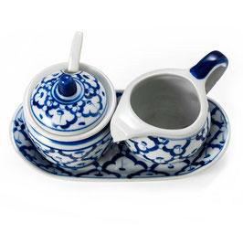 Thai Menage 3-teilig Milch und Zucker aus Porzellan mit blau weißem Muster