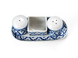 Thai Menage 4-teilig aus Porzellan mit blau weißem Muster