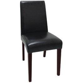 Schwarzer Kunstlederstuhl mit Holzbeinen und hoher Rückenlehne