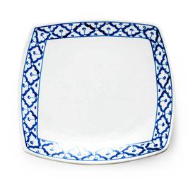 Thai Porzellanteller mit blau weißem Muster (Viereckig)