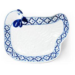 Thai Porzellanteller mit blau weißem Muster (Huhn)