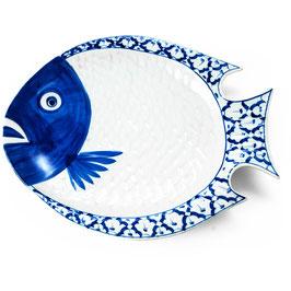 Thai Porzellanteller mit blau weißem Muster (Fischform - rund)