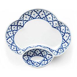 Thai Menüteller 2-geteilt aus Porzellan mit blau weißem Muster (wolkenförmig)