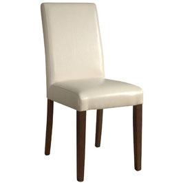 Cremefarbener Kunstlederstuhl mit Holzbeinen und hoher Rückenlehne