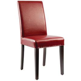 Roter Kunstlederstuhl mit Holzbeinen und hoher Rückenlehne