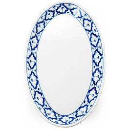 Thai Porzellanteller mit blau weißem Muster (Oval)