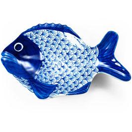 Thai Fisch-Servierteller mit blau weißem Schuppen Muster
