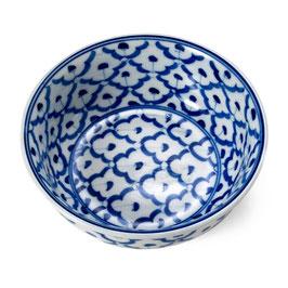 Thai TOM YUM Schale mit blau weißem Muster (innen & außen)