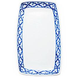 Thai Porzellanteller mit blau weißem Muster (Eckig - Rechteck)