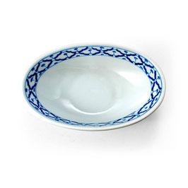 Ovale Thai Porzellanschale mit blau weißem Muster (tief)