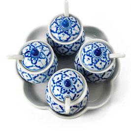 Thai Menage 5-teilig aus Porzellan mit blau weißem Muster