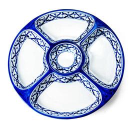 Thai Porzellan Rundteller 5-geteilt mit blau weißem Muster