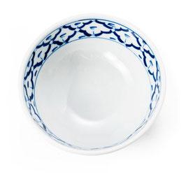 Thai Suppenschale mit blau weißem Muster (innen & außen)