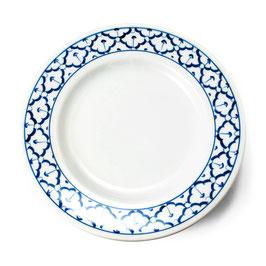 Thai Rundteller aus Porzellan mit blau weißem Muster