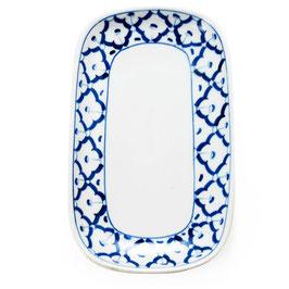 Thai Porzellanteller mit blau weißem Muster (Runde Ecken - Rechteck)