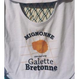 """Bavoir """"mignonne comme une galette bretonne"""""""