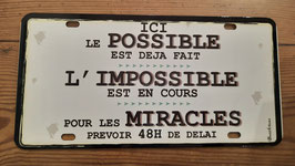 """Plaque immatriculation """"les miracles"""""""