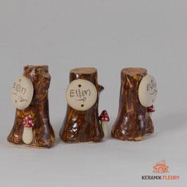Keramik Schild Elfen mit Fliegenpilz für Miniaturgarten (1 Stück)