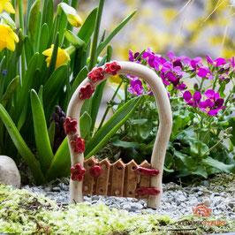 Keramik Rosenbogen für Miniaturgarten mit roten Blüten (1 Stück)