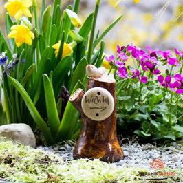 Keramik Schild Wichtel für Miniaturgarten (1 Stück)