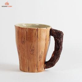 Keramik Tasse Dekor Holz