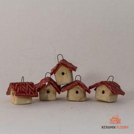 Keramik Vogelhäuschen hängend für Miniaturgarten (1 Srück)