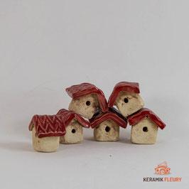 Keramik Vogelhäuschen stehend für Miniaturgarten (1 Stück)