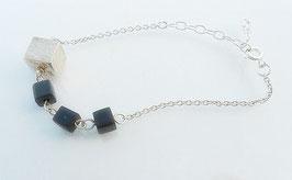 Bracelet cubes argent ébène