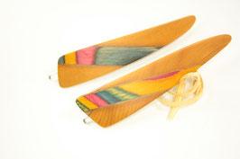Haarspange / Paar / haarfreundlich/ 56mm / Intarsie  / Eibe + bunte Furniere