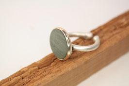 Ring, verstellbar, Intarsie, Messing versilbert, Ahorn grün