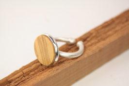 Ring, verstellbar, Intarsie, Messing versilbert, Olivenholz